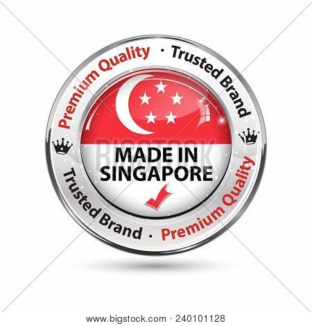 Made In Singapore. Shiny Button Designed For The Retail Market.