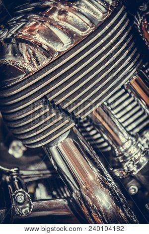 Close Up Shot Of V-twin Motorcycle Engine.