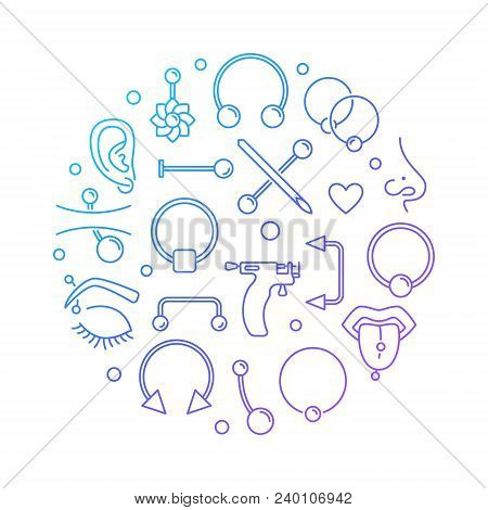 Colorful Piercing Vector Round Illustration Made With Outline Piercings Creative Icons On White Back