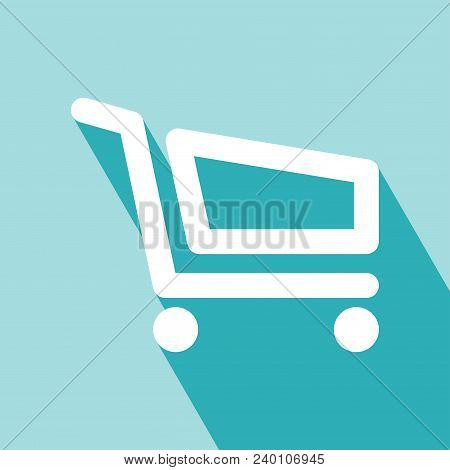 Shopping Cart Icon. Flat Shopping Cart Icon. Elements For Design. Shopping Cart Icon On Blue Backgro