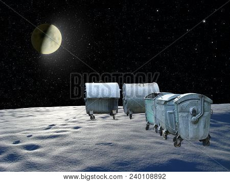 Containers For Garbage On Planet In Space. Space Garbage. Global Pollution. Human Interference. Huma