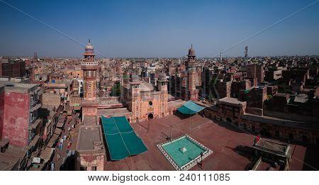 Aerial Panorama Of Wazir Khan Mosque In Lahore, Pakistan