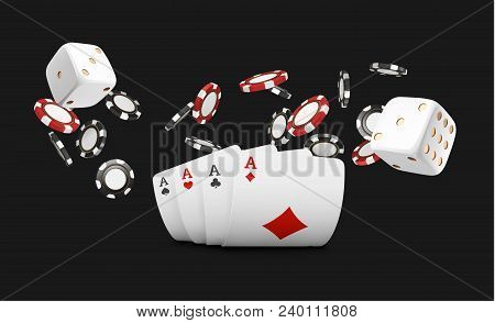 Playing Cards And Poker Chips Fly Casino. Concept On Black Background. Poker Casino Vector Illustrat