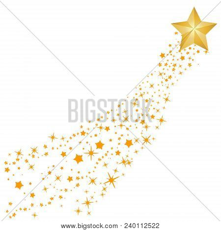 Abstract Falling Star Vector - Yellow Shooting Star With Elegant Star Trail On White Background - Me