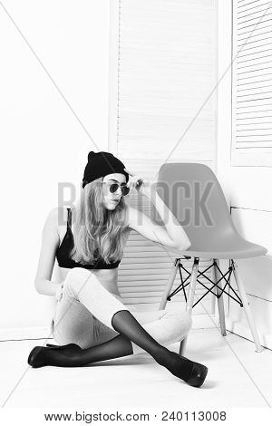 Pretty Woman Or Sexy Cute Girl With Long Blonde Hair And Adorable Face In Sunglasses, Bra, Hat, Shoe