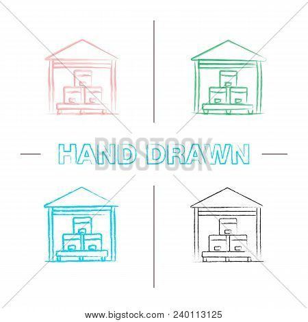 Warehouse Hand Drawn Icons Set. Cardboard Boxes On Pallet. Parcels Storage Color Brush Stroke. Isola