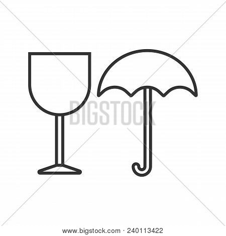 Fragile Linear Icon. Thin Line Illustration. Keep Dry. Handle With Care. Contour Symbol. Vector Isol