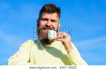 Man With Long Beard Enjoy Coffee. Coffee Taster Concept. Man With Beard And Mustache On Smiling Face