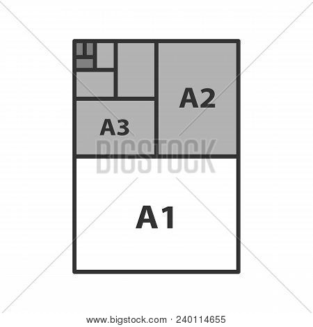 Paper Sizes Color Icon. Paper Sheet Formats. A3, A1, A2. Isolated Vector Illustration
