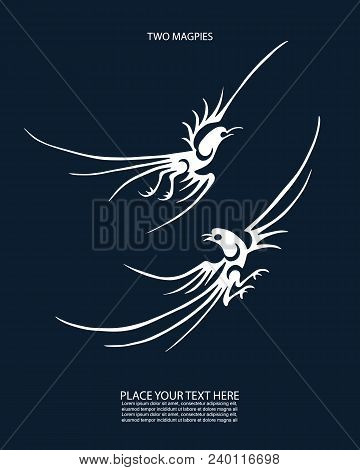 Magpies. Folk Chinese Design Symbols. Vector Illustration. Can Be Used In Present Cards Calendars, B