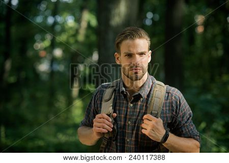 Travel, Lifestyle, Success, Adventure, Active Vacations, Sport Concept. Man With Backpack Hiking In