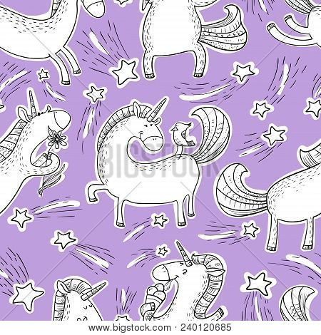 Magic Unicorns Background. Seamless Pattern With Mistycal Horse In Doodle Children Style. Cute Chara
