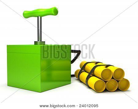 Explozive with detonator over white