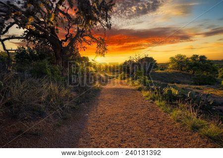 Stunning Sunrise At Enchanted Rock State Park Near Fredericksburg, Tx