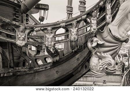 Genoa, Italy - May 14, 2017: Detail Of The Galleon Neptun Old Wooden Ship In Porto Antico In Genoa,