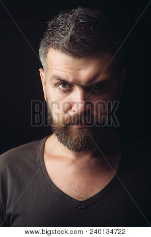 Bearded Man. Hipster With Serious Face. Feeling And Emotions. Man With Long Beard And Mustache. Sexy