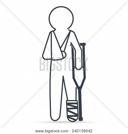 Injury Man In Bandage And Crutch Icon. Medical Sign Simple Line Icon Illustration