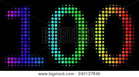 Dot Colorful Halftone 100 Text Icon In Rainbow Color Shades With Horizontal Gradient On A Black Back