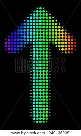 Pixelated Bright Halftone Arrow Direction Icon In Spectrum Color Hues With Horizontal Gradient On A