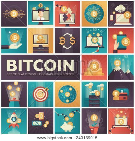 Bitcoin - Set Of Colorful Flat Design Infographics Elements. High Quality Metaphorical Collection On