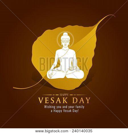 Vesak Day Banner Card With White Buddha Sign On Gold Bodhi Leaf  Vector Design