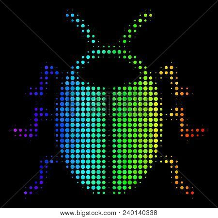 Dotted Impressive Halftone Bug Icon In Spectrum Color Tinges With Horizontal Gradient On A Black Bac