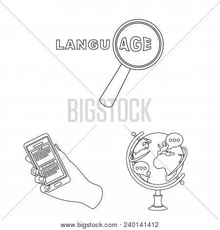 Translator And Linguist Outline Icons In Set Collection For Design. Interpreter Vector Symbol Stock