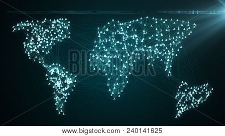 Connecting People On The Internet, Nodes Transforming Into The Shape Of A World Map, Social Network