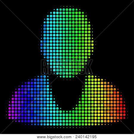 Pixelated Bright Halftone Client Icon Drawn With Rainbow Color Tinges With Horizontal Gradient On A