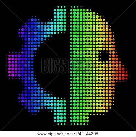 Dot Bright Halftone Cyborg Head Icon Drawn With Spectrum Color Variations With Horizontal Gradient O