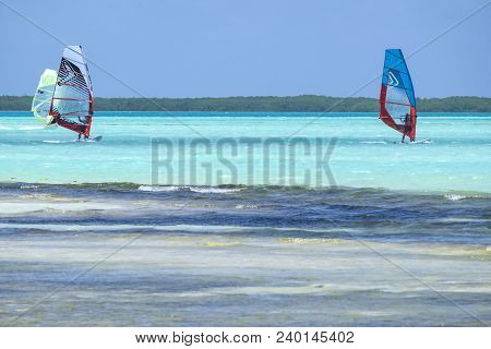 Kralendijk, Bonaire - April 12, 2018: Windsurfing At Sorobon Beach