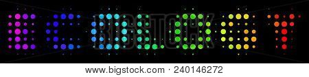 Dot Bright Halftone Ecology Text Icon Using Spectral Color Hues With Horizontal Gradient On A Black