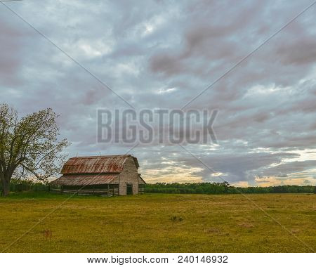 An old wooden barn near a big tree in a field during a cloudy sunset.