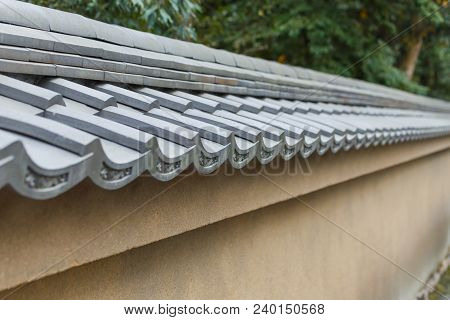 Tile Roof Of Japanese Traditional At Kyoto, Japan.