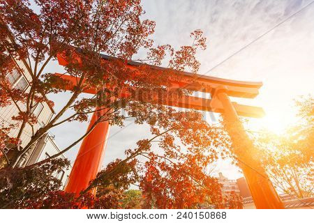 Torii Gates With Sunrise At Fushimi Inari Shrine, Kyoto, Japan. Attracting A Large Number Of Visitor