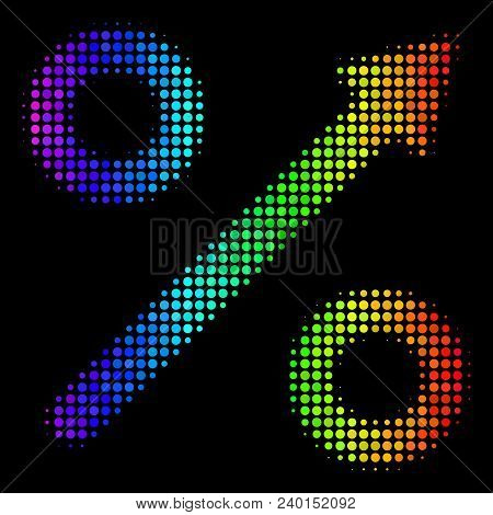 Dotted Impressive Halftone Growing Percent Icon In Rainbow Color Tinges With Horizontal Gradient On