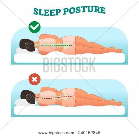 Correct And Healthy Sleeping Posture For Your Neck And Spine, Vector Illustration With Sleeping Fema