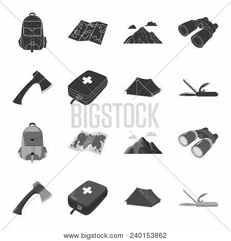 Ax, First-aid Kit, Tourist Tent, Folding Knife. Camping Set Collection Icons In Black, Monochrome St