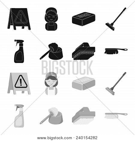 Cleaning And Maid Black, Monochrome Icons In Set Collection For Design. Equipment For Cleaning Vecto