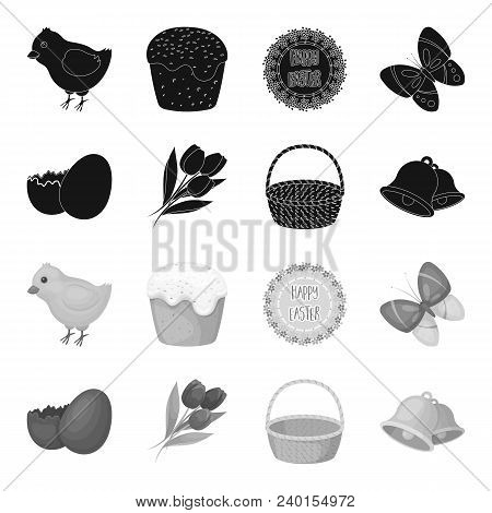 Chocolate Egg, Bells, Basket And Flowers.easter Set Collection Icons In Black, Monochrome Style Vect