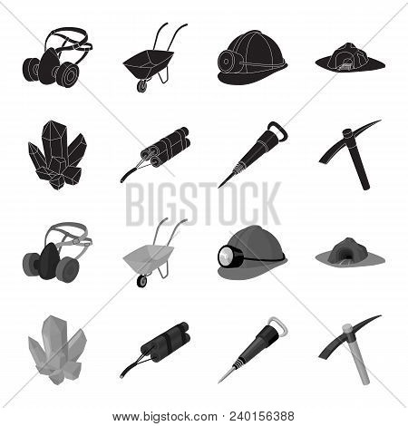 Minerals, Explosives, Jackhammer, Pickaxe.mining Industry Set Collection Icons In Black, Monochrome