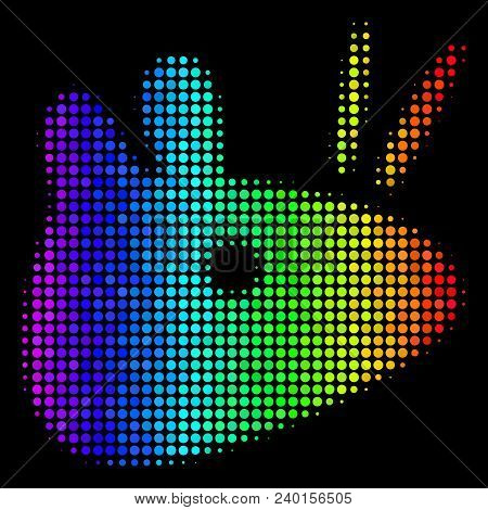 Pixelated Impressive Halftone Mouse Head Icon Drawn With Rainbow Color Shades With Horizontal Gradie