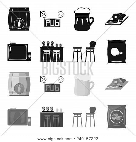 Tv, Bar Counter, Chairs And Armchairs, Potato Chips.pub Set Collection Icons In Black, Monochrome St