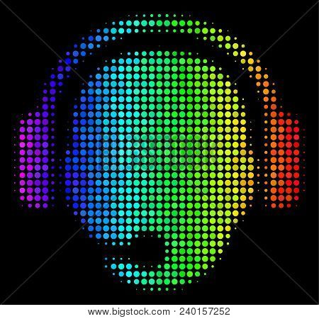 Dotted Colorful Halftone Operator Head Icon Drawn With Rainbow Color Hues With Horizontal Gradient O