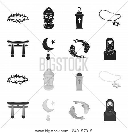 Torii, Carp Koi, Woman In Hijab, Star And Crescent. Religion Set Collection Icons In Black, Monochro