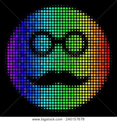 Dot Bright Halftone Pension Smiley Icon In Rainbow Color Tones With Horizontal Gradient On A Black B