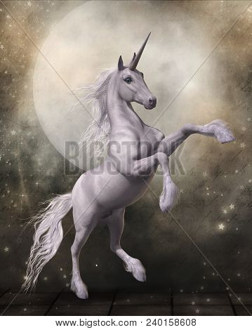 3d Render Of A Magical Unicorn In Front Of A Fairytale Moon