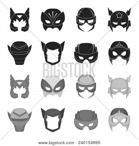 Helmet, Mask On The Head.mask Super Hero Set Collection Icons In Black, Monochrome Style Vector Symb