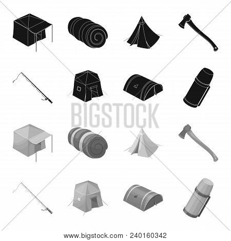 Spinning For Fishing, Tent, Thermos.tent Set Collection Icons In Black, Monochrome Style Vector Symb