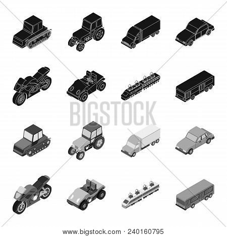 Motorcycle, Golf Cart, Train, Bus. Transport Set Collection Icons In Black, Monochrome Style Vector